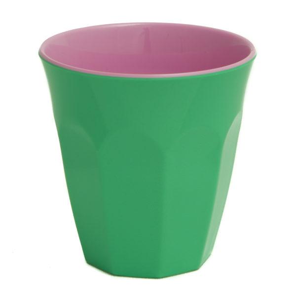 kunststof kopje groen en roze