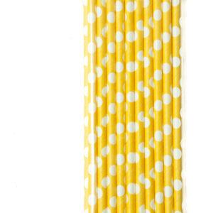 gele papieren rietjes met witte stippen